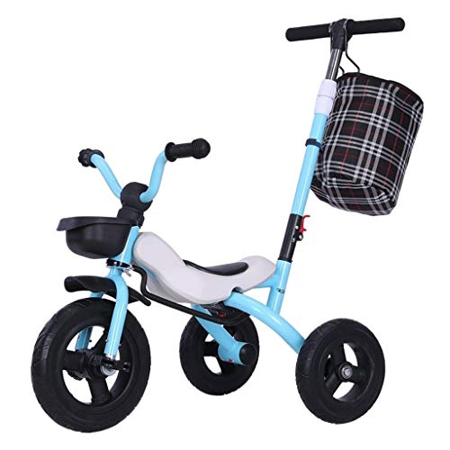 WENJIE Bicicleta Infantil Cochecito De Niño 1-6 Años De Edad del Niño Al Aire Libre De Todo Tipo De Terreno De Tres Ruedas A Mano 3 Colores Triciclo De Niños (Color : Blue)