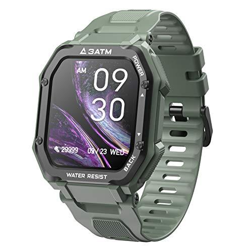 FMSBSC Smartwatch Reloj Inteligente para Hombres con 20 Modos Deportivos Monitor de Frecuencia Cardíaca/Sueño/SpO2/Calorías/Pasos/Control de música, Reloj de Fitness,Verde