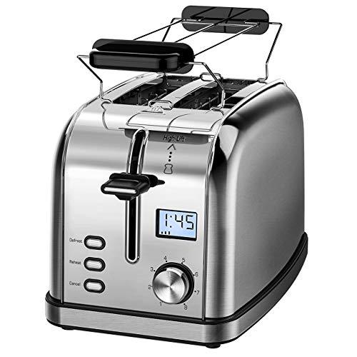 Toaster 2 Scheiben IKICH Toaster Edelstahl Toaster mit LCD Countdown-Anzeige, Extra Breite Steckplätze, 8 Bräunungsstufen, Toaster mit Brötchenaufsatz Testsieger, 950W/ Silber