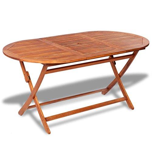 Roderick Irving Gartentisch Klappbar Holztisch Ovaler Esstisch Garten aus Akazienholz 160 x 85 x 75 cm