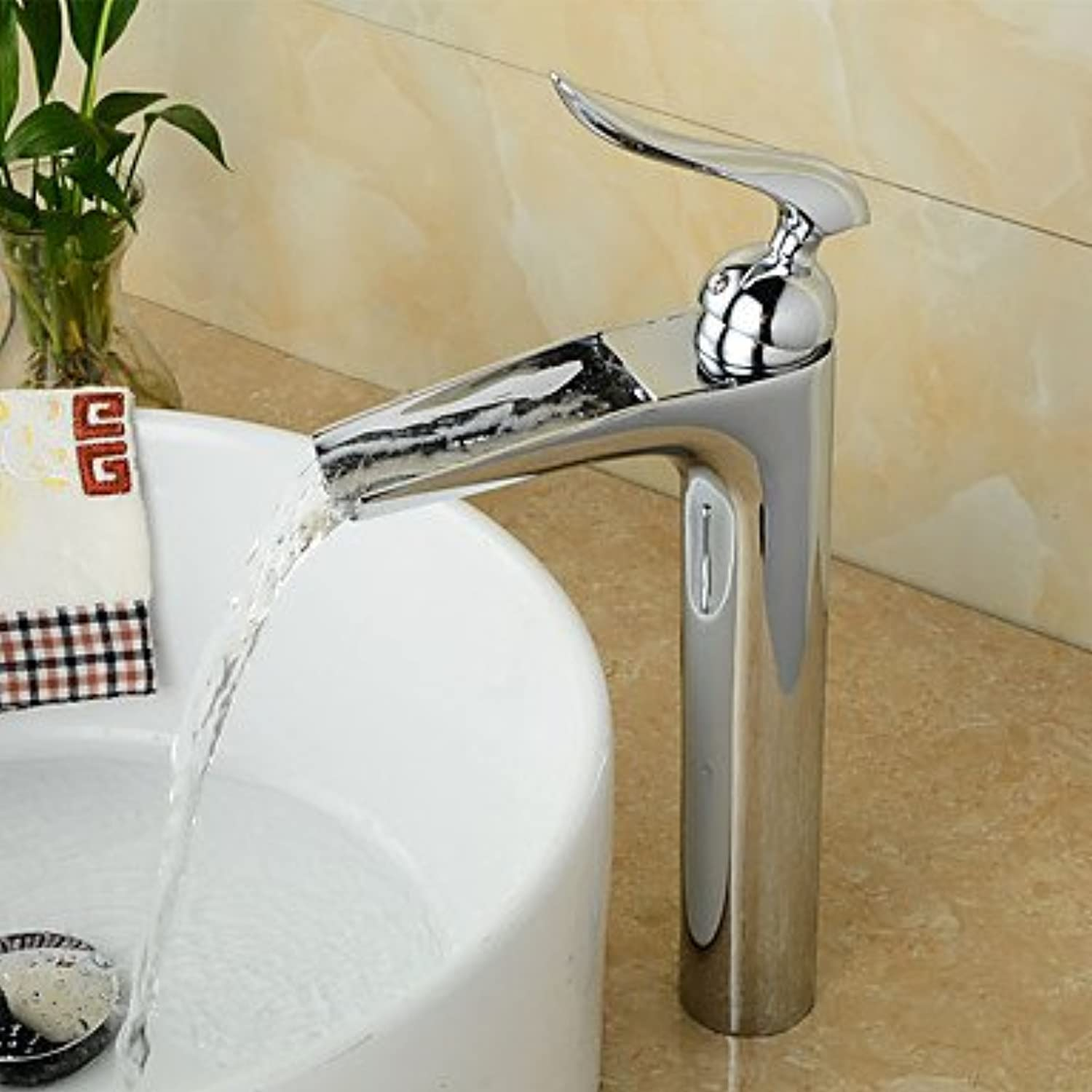 ZLL ?ìContemporary Centerset Waterfall with Ceramic Valve Single Handle One Hole for Chrome , Bathroom Sink Faucet