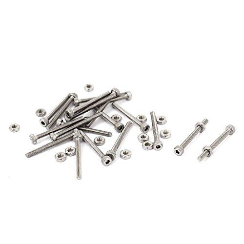 Sourcingmap® M2x 20mm 22mm Lange Hex Steckschlüssel gerändelten Cap Schrauben Schrauben Muttern Set 20Stück de