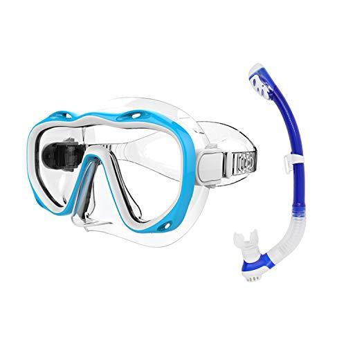 No/Brand Kit de Máscara y Tubo para Snorkelling con Máscara de Buceo Antivaho Profesional Tubo de Buceo y Estuche para Gafas de Buceo para Adultos, Azul