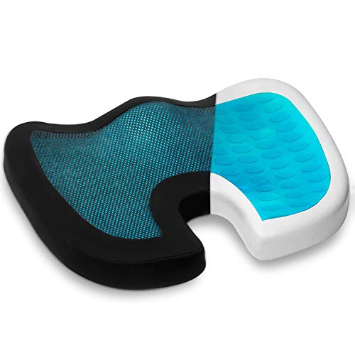 Seat Cushion Pillow for Office Chair - 100% Memory Foam Firm Coccyx Pad - Tailbone, Lower Back Pain Relief Butt Pillow - Contoured Posture Corrector for Car, Wheelchair,Computer and Desk Chair