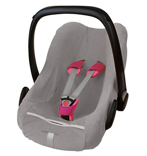 ByBoom - Frottee Sommerbezug, Schonbezug für Babyschale, Autositz, z.B. Maxi Cosi CabrioFix, City, Pebble; Designed in Germany, MADE IN EU, Farbe:Grau