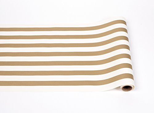 Striped Table Runner - Gold Paper Table Runner for Parties or Weddings - American Made