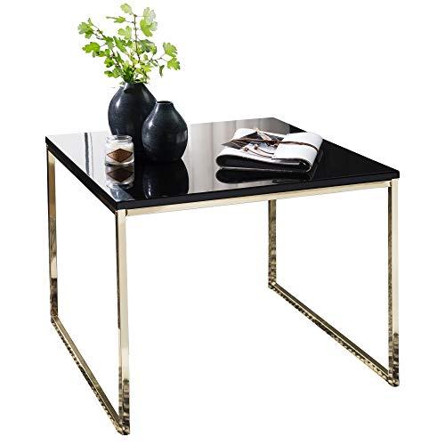 FineBuy Tavolino da caffè Nero/Oro 60x50x60 cm Disegno Tavolo Metallo/MDF | Tavolo da Salotto Quadrato | Divano Tavolo Moderno