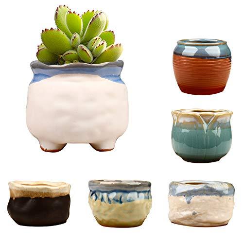 Brajttt 2.95 inch Succulent Pots,Mini Flower Pots with Drinage,Succulent Planters with Hole,Small Planter Pots,Ceramic Pots for Garden,Cactu,Colourful Glaze Base Serial
