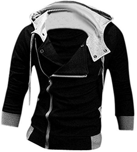 jeansian Casuale Sport Uomo Inverno Moda Giacca Uomini Tendenza Cappotto Design Sottile Capispalla 8945 Black XL