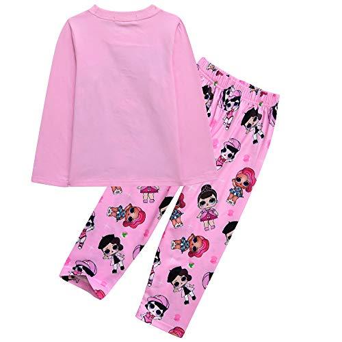 LOL Surprise - Conjunto de pijama para niñas (algodón, 3 a 10 años), color rosa y morado