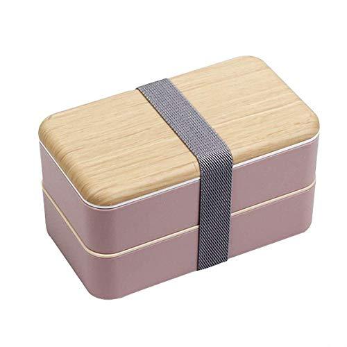 O-Kinee Lunch Box, Bento Box Kids, Boite Bento 1200 ML avec Couche Double Bento Enfant et Couverts (Rose)