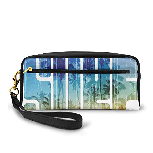 Pencil Case Pen Bag Pouch Stationary,Summer Surf Retro Letters That Reflect The Seacoast with Palm Tree Extreme Sports Art,Small Makeup Bag Coin Purse