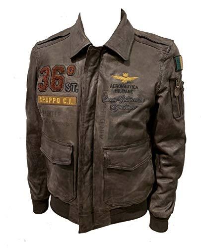 Aeronautica Militare Chaqueta de piel PN5010PL 36O torneada, para hombre, color marrón humo, piloto, chaqueta, chaqueta (numéric_54)