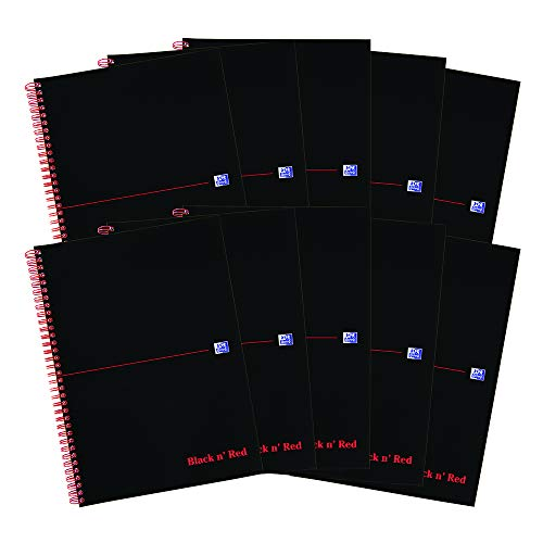 Oxford Black n 'Red Card Coque ordinateur portable reliure intégrale, papier ligné et perforé 100 pages Lot de 10 a4