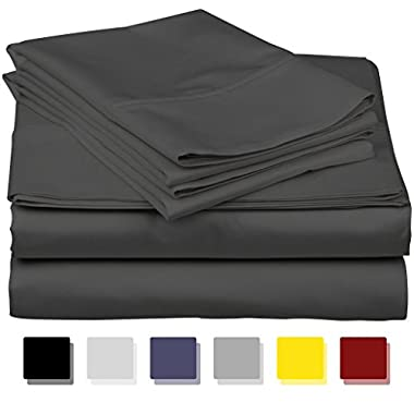 True Luxury 100% Egyptian Cotton - Genuine 1000 Thread Count 4 Piece Sheet Set- Color Elephant/dark Grey, Size California King - Fits Mattress Upto 18'' Deep Pocket