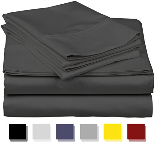 True Luxury 1000-Thread-Count 100% Egyptian Cotton Bed Sheets, 4-Pc Queen Dark Grey Sheet Set, Single Ply Long-Staple Yarns, Sateen Weave, Fits Mattress Upto 18'' Deep Pocket