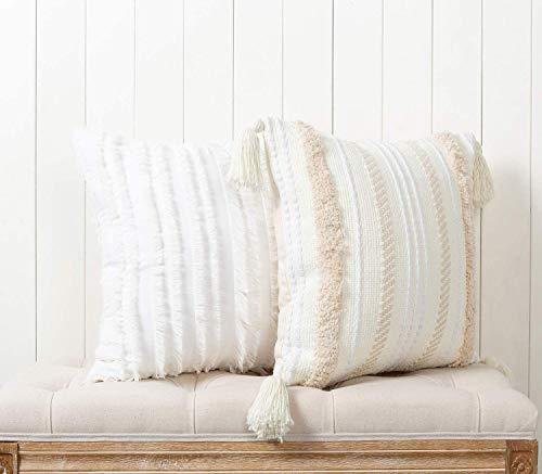 Juego de 2 fundas de cojín bohemias, decorativas con borlas, algodón y lino, para sofá, dormitorio, salón, coche, suave, 50 x 50 cm, color crema y blanco