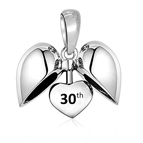 LSDesigns 30th Happy Birthday Charm Bead fits Pandora Charms for Women Moments Snake Chain Bracelet - S925 Sterling Silver Heart 30