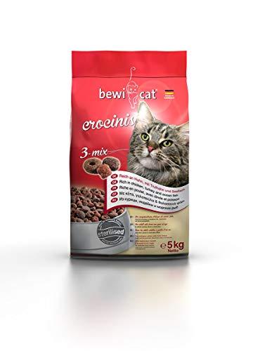 bewi cat Crocinis [5 kg] Katzenfutter | Für ausgewachsene Katzen ab dem 1. Jahr | 3-Mix Geschmack | für kastrierte Katzen geeignet