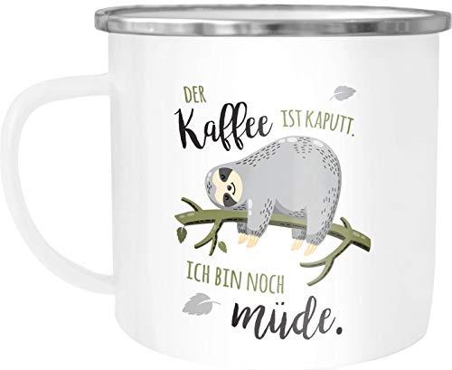 Moonworks® Emaille-Tasse Becher mit Spruch lustig Motiv Faultier Bürotasse der Kaffee ist kaputt ich bin noch müde weiß-metall Emailletasse
