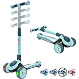 Allek F01 Folding Kick Scooter for Kids, 3-Wheel LED Flashing Glider Push Scooter with Height Adjustable and Foldable Handlebar, Dual Color Anti-Slip Wide Deck for Boys Girls 3-12 (Green)