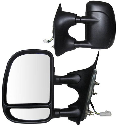 Fit System 61069-70F Ford Pickup Driver/Passenger Side Replacement Power Adjustable Glass Manual Foldaway Towing Mirror Set with Dual Glass