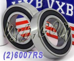 2 Bearing 6007RS 35x62x14 Sealed Ball Bearings