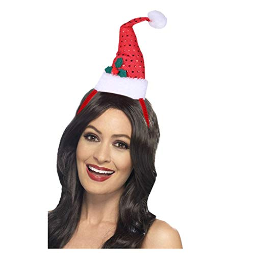 Kersthoofdband kostuum Dasongff Kerstself Hoed hoofdband Kerstmis hoofdversiering Kerstmuts Mini Santa hoed met pompon op haarband 1 pc rood