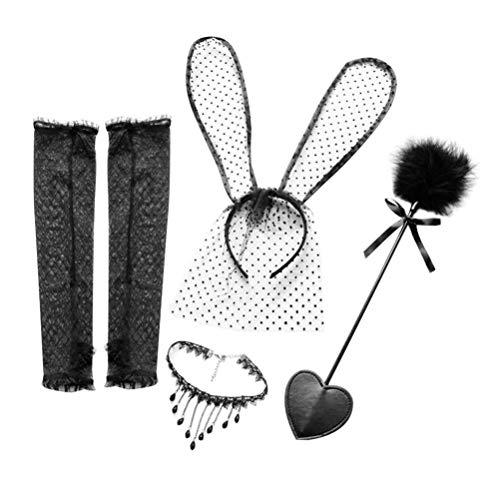 HEALLILY 5 Piezas Orejas de Conejo Collar de Diadema de Encaje Negro Orejas de Conejo Conjunto de bofetadas de Cuero Traje de Juego de Cosplay para Adultos