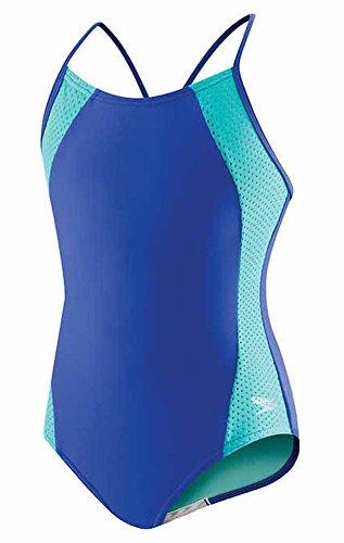 Speedo Mädchen-Badeanzug, Einteiler, Mesh-Einsätze an den Seiten, im Rücken überkreuzte Träger, Mädchen, Dark Peri, 16