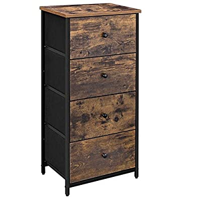 SONGMICS Rustic Vertical Dresser Tower, Industrial Drawer Dresser with 4 Drawers, Wooden Top and Front, Metal Frame, Fabric Closet Storage, Rustic Brown and Black ULGS04H