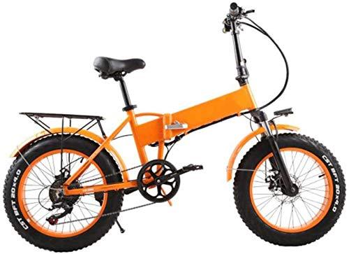 Bici electrica, 48v 500w 20 pulgadas Suspensión eléctrica plegable Fat Tire Bike...