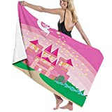 Beach Towel in Soft Absorbent Lightweight Drying Towel,Magic Fantasy Fairy Tale Princess Castle with Pixie in Sky Fictional Dream Kingdom,useable as Gym Towel Bath Towel Swimming towel1