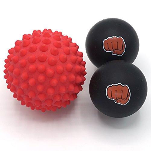 Juego de Bola de Masaje para Atletas – Dos (2) Bolas de Caucho Sólido +...