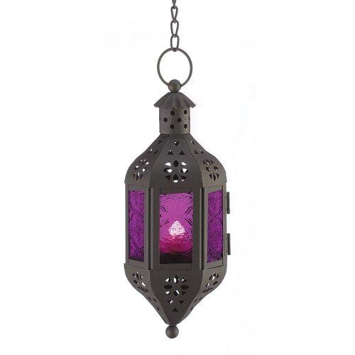 Gifts & Decor Mystique Lanterne décorative Violet/Noir 10,2 x 10,2 x 25,4 cm