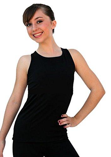 Chloe Noel Eiskunstlauf Racer Back ausgestattet Top T02, damen Mädchen, schwarz