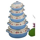 ARTFFEL Stick 5 ollas/Maceta Esmalte Sopa de Olla a Utensilios de Cocina Conjunto cazuela cazuela Caliente Cocinero crisol de la Sopa Establecer cazuela de cerámica Limpiar (Color : Blue)