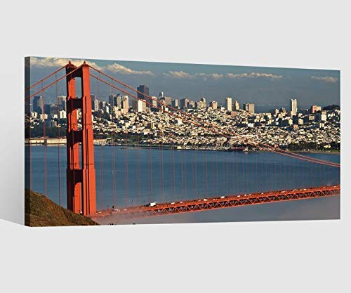 Leinwandbild Leinwand Golden Gate Bridge - San Francisco Skyline Bild Bilder Wandbild Holz Leinwandbilder Kunstdruck vom Hersteller 9AB590, Leinwand Größe 1:80x40cm