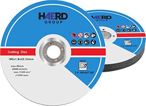 10 discos de corte profesionales, 180 mm de diámetro, 1,6 mm de grosor, para amoladora de corte y ángulo flexible, acero inoxidable
