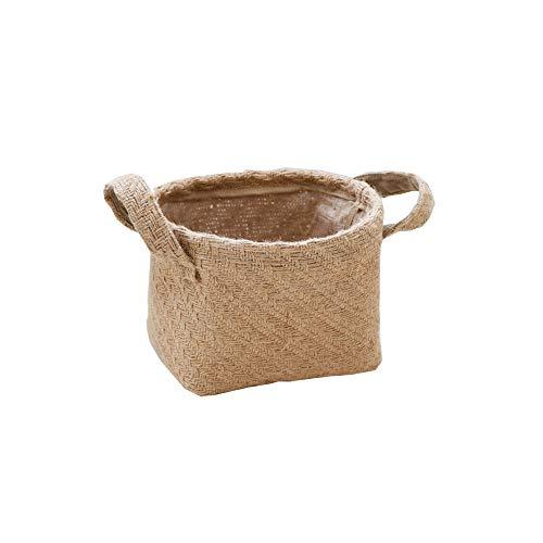 Mix - Cesta de almacenamiento de yute tejida para escritorio, organizador de hogar, cestas de algodón y lino plegable con asa decorativa para el hogar y juguetes, beige, Small