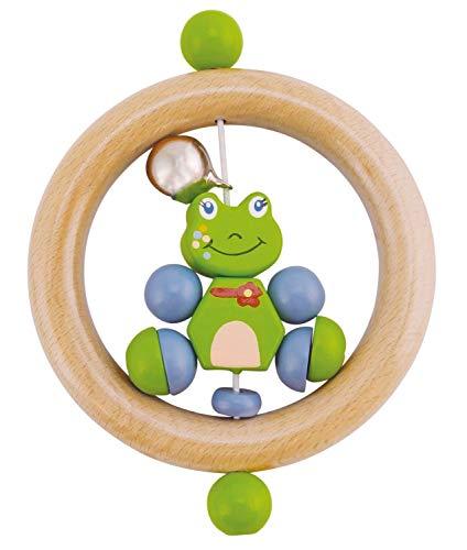 anneau hochet Froggy, Froggy de hochet en bois BIECO 44021001 à la grenouille, saisir hochet pour les bébés dès la naissance, vert