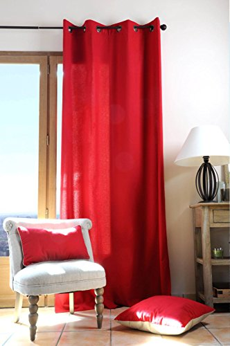 Lovely Casa Rideau, Coton, Rouge, 135 x 240 cm