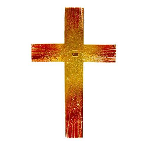 kruzifix24 Kunsthandwerk Glaskreuz Wandkreuz Sonnenaufgang orange rot Relief Fusing/Blattgold 23 x 14 cm Handarbeit Schmuckkreuz Unikat Glaskunst