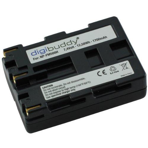 Batería, batería NP-FM500H con 1600 mAh para Sony Alfa 57 (SLT-A57)/65 (SLT-A65)/77 (SLT-A77) 200 (DSLR-A200) 300 (DSLR-A300)/350 (DSLR-A350) 450 (DSLR-A450) (DSLR-A500)/550 (DSLR-A550)/560 (DSLR-A560)/580 (DSLR-A580) 700 (DSLR-A700) 850 (DSLR-A850) 900 (DSLR-A900) Li-ion PDA-Punkt