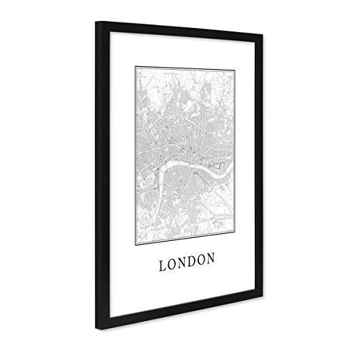 PHOTOLINI Poster mit Bilderrahmen Schwarz 'London Karte' 30x40 cm schwarz-Weiss Motiv Natur Landschaft Map