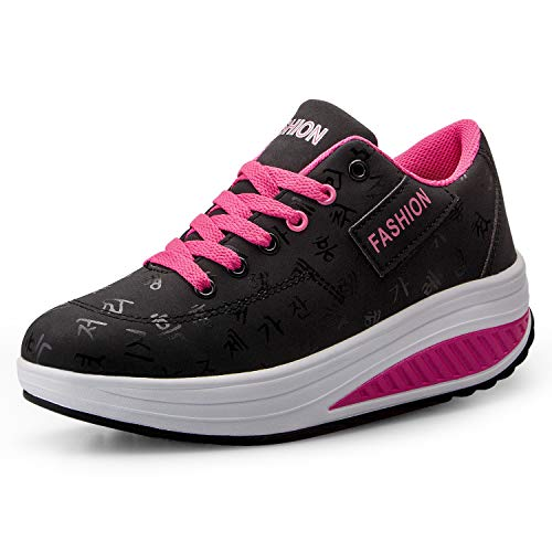 Mujer Adelgazar Zapatos Sneakers para Caminar Zapatillas Aptitud Cuña Plataforma Zapatos(38,Negro