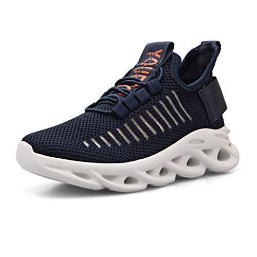 Zapatillas Niño Zapatos Deporte Transpirables Ultraligeras No Requieren Cordones Zapatillas de Correr Niños Casual Running Sneakers Azul 32