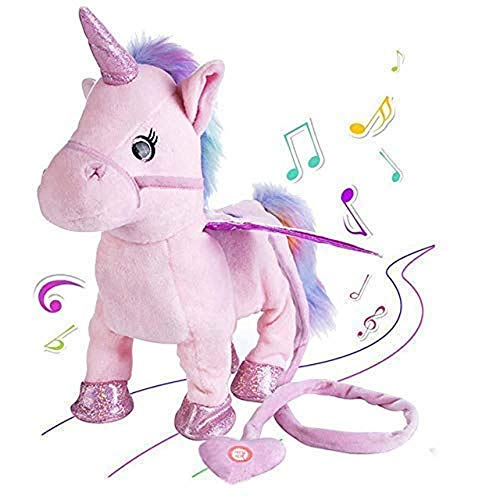 JFFKLS Unicorn Plush Toys Singing and Walking Dancing Electric Pegasus Toys Musical Unicorn Robot Pony Pet Best Gift for Boys Girls Kids Toddlers Battery Powered