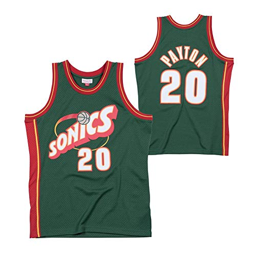 LDFN Jersey Baloncesto Camiseta De Baloncesto, Gary Payton # 20 Seattle Supersonics, Hardwood Classics Alero-Trikot S-XXL