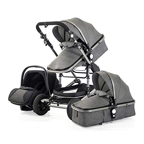 Opvouwbare kinderwagen met vier wielen, 2 in 1 kinderwagen voor pasgeboren baby, mobiel High Vista, multifunctioneel en veilig in twee richtingen, vierwielophanging